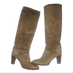 Céline Suede Knee High Stacked Heel Boot Size 37.5